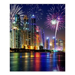 Dubai City At Night Christmas Holidays Fireworks In The Sky Skyscrapers United Arab Emirates Shower Curtain 60  X 72  (medium)  by Onesevenart