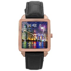 Dubai City At Night Christmas Holidays Fireworks In The Sky Skyscrapers United Arab Emirates Rose Gold Leather Watch  by Onesevenart