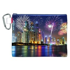Dubai City At Night Christmas Holidays Fireworks In The Sky Skyscrapers United Arab Emirates Canvas Cosmetic Bag (xxl) by Onesevenart