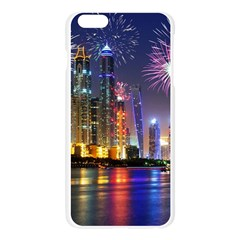Dubai City At Night Christmas Holidays Fireworks In The Sky Skyscrapers United Arab Emirates Apple Seamless iPhone 6 Plus/6S Plus Case (Transparent) by Onesevenart