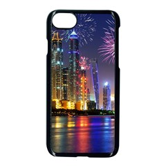 Dubai City At Night Christmas Holidays Fireworks In The Sky Skyscrapers United Arab Emirates Apple iPhone 7 Seamless Case (Black)