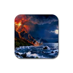 Eruption Of Volcano Sea Full Moon Fantasy Art Rubber Coaster (square)  by Onesevenart