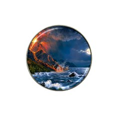 Eruption Of Volcano Sea Full Moon Fantasy Art Hat Clip Ball Marker (10 Pack) by Onesevenart