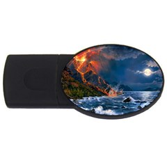 Eruption Of Volcano Sea Full Moon Fantasy Art Usb Flash Drive Oval (4 Gb) by Onesevenart