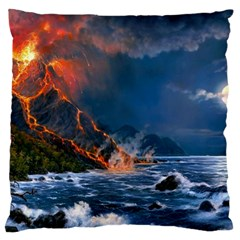 Eruption Of Volcano Sea Full Moon Fantasy Art Large Cushion Case (two Sides) by Onesevenart