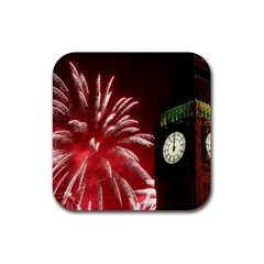 Fireworks Explode Behind The Houses Of Parliament And Big Ben On The River Thames During New Year's Rubber Square Coaster (4 Pack)  by Onesevenart