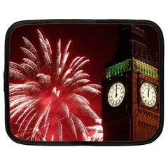 Fireworks Explode Behind The Houses Of Parliament And Big Ben On The River Thames During New Year's Netbook Case (large) by Onesevenart