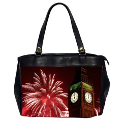Fireworks Explode Behind The Houses Of Parliament And Big Ben On The River Thames During New Year's Office Handbags (2 Sides)  by Onesevenart