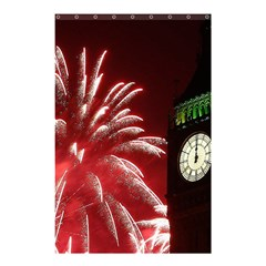 Fireworks Explode Behind The Houses Of Parliament And Big Ben On The River Thames During New Year's Shower Curtain 48  X 72  (small)  by Onesevenart