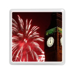 Fireworks Explode Behind The Houses Of Parliament And Big Ben On The River Thames During New Year's Memory Card Reader (Square)  by Onesevenart