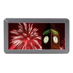 Fireworks Explode Behind The Houses Of Parliament And Big Ben On The River Thames During New Year's Memory Card Reader (mini) by Onesevenart