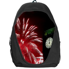 Fireworks Explode Behind The Houses Of Parliament And Big Ben On The River Thames During New Year's Backpack Bag by Onesevenart
