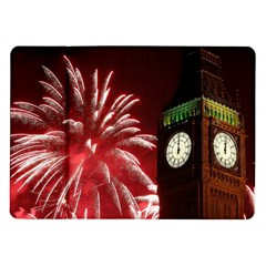 Fireworks Explode Behind The Houses Of Parliament And Big Ben On The River Thames During New Year's Samsung Galaxy Tab 10 1  P7500 Flip Case by Onesevenart