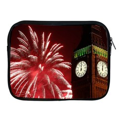 Fireworks Explode Behind The Houses Of Parliament And Big Ben On The River Thames During New Year's Apple Ipad 2/3/4 Zipper Cases by Onesevenart