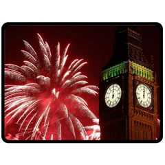 Fireworks Explode Behind The Houses Of Parliament And Big Ben On The River Thames During New Year's Double Sided Fleece Blanket (large)  by Onesevenart