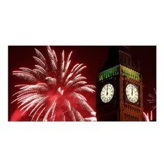 Fireworks Explode Behind The Houses Of Parliament And Big Ben On The River Thames During New Year's Satin Shawl by Onesevenart