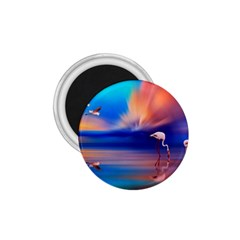 Flamingo Lake Birds In Flight Sunset Orange Sky Red Clouds Reflection In Lake Water Art 1 75  Magnets by Onesevenart