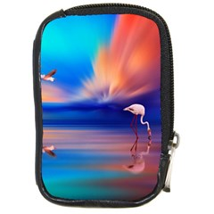 Flamingo Lake Birds In Flight Sunset Orange Sky Red Clouds Reflection In Lake Water Art Compact Camera Cases by Onesevenart