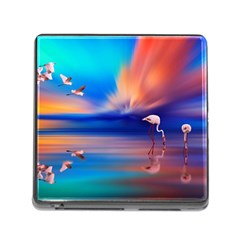 Flamingo Lake Birds In Flight Sunset Orange Sky Red Clouds Reflection In Lake Water Art Memory Card Reader (square) by Onesevenart