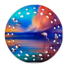 Flamingo Lake Birds In Flight Sunset Orange Sky Red Clouds Reflection In Lake Water Art Round Filigree Ornament (two Sides) by Onesevenart