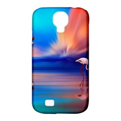 Flamingo Lake Birds In Flight Sunset Orange Sky Red Clouds Reflection In Lake Water Art Samsung Galaxy S4 Classic Hardshell Case (pc+silicone) by Onesevenart