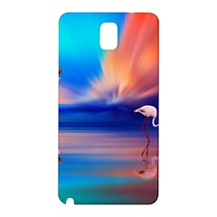 Flamingo Lake Birds In Flight Sunset Orange Sky Red Clouds Reflection In Lake Water Art Samsung Galaxy Note 3 N9005 Hardshell Back Case by Onesevenart