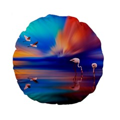 Flamingo Lake Birds In Flight Sunset Orange Sky Red Clouds Reflection In Lake Water Art Standard 15  Premium Flano Round Cushions by Onesevenart