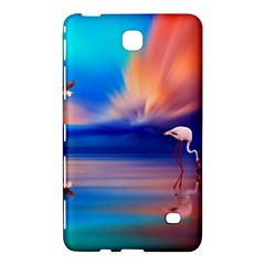 Flamingo Lake Birds In Flight Sunset Orange Sky Red Clouds Reflection In Lake Water Art Samsung Galaxy Tab 4 (8 ) Hardshell Case  by Onesevenart