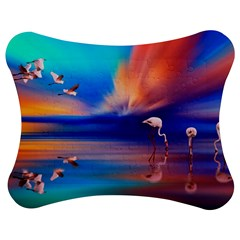 Flamingo Lake Birds In Flight Sunset Orange Sky Red Clouds Reflection In Lake Water Art Jigsaw Puzzle Photo Stand (bow) by Onesevenart