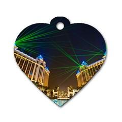 Galaxy Hotel Macau Cotai Laser Beams At Night Dog Tag Heart (one Side) by Onesevenart