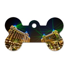 Galaxy Hotel Macau Cotai Laser Beams At Night Dog Tag Bone (two Sides) by Onesevenart
