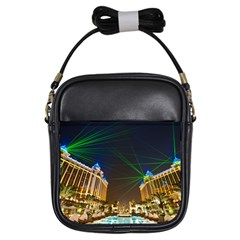 Galaxy Hotel Macau Cotai Laser Beams At Night Girls Sling Bags by Onesevenart