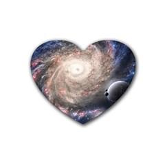 Galaxy Star Planet Rubber Coaster (heart)  by Onesevenart