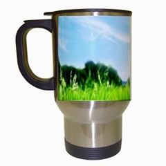 Green Landscape Green Grass Close Up Blue Sky And White Clouds Travel Mugs (white) by Onesevenart