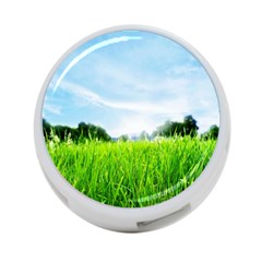 Green Landscape Green Grass Close Up Blue Sky And White Clouds 4 Port Usb Hub (one Side) by Onesevenart