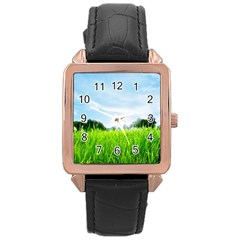 Green Landscape Green Grass Close Up Blue Sky And White Clouds Rose Gold Leather Watch  by Onesevenart