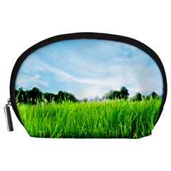 Green Landscape Green Grass Close Up Blue Sky And White Clouds Accessory Pouches (large)  by Onesevenart