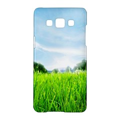 Green Landscape Green Grass Close Up Blue Sky And White Clouds Samsung Galaxy A5 Hardshell Case  by Onesevenart
