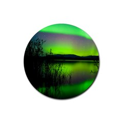 Green Northern Lights Canada Rubber Coaster (round)  by Onesevenart