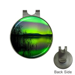 Green Northern Lights Canada Hat Clips With Golf Markers by Onesevenart