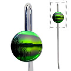 Green Northern Lights Canada Book Mark by Onesevenart