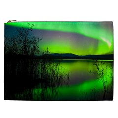 Green Northern Lights Canada Cosmetic Bag (xxl)  by Onesevenart
