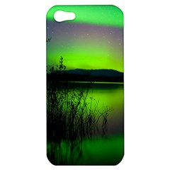 Green Northern Lights Canada Apple Iphone 5 Hardshell Case by Onesevenart