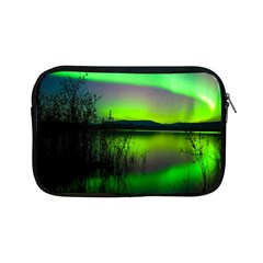 Green Northern Lights Canada Apple Ipad Mini Zipper Cases by Onesevenart