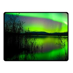 Green Northern Lights Canada Double Sided Fleece Blanket (small)  by Onesevenart