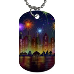 Happy Birthday Independence Day Celebration In New York City Night Fireworks Us Dog Tag (two Sides) by Onesevenart