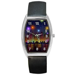 Happy Birthday Independence Day Celebration In New York City Night Fireworks Us Barrel Style Metal Watch by Onesevenart