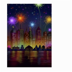 Happy Birthday Independence Day Celebration In New York City Night Fireworks Us Large Garden Flag (two Sides) by Onesevenart