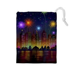 Happy Birthday Independence Day Celebration In New York City Night Fireworks Us Drawstring Pouches (large)  by Onesevenart