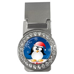 Happy Holidays Christmas Card With Penguin Money Clips (cz)  by Onesevenart